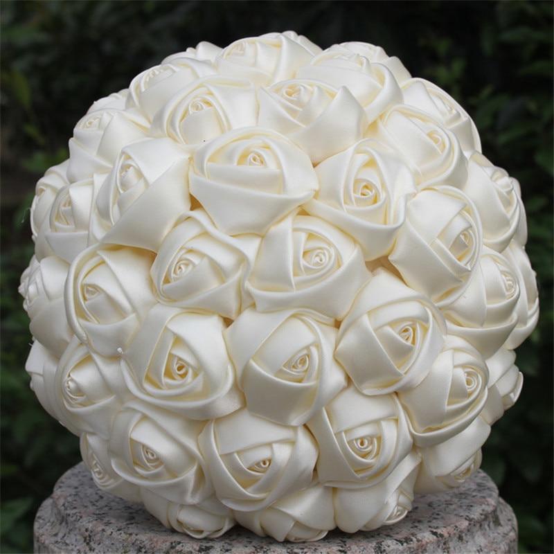 Cheap Silk Flower Bouquets For Weddings: Free Shipping Cheap Marfim Ivory Silk Bridal Bouquet