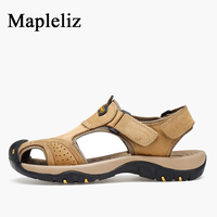 Mapleliz Brand Hook Loop Genuine Leather High Quality Men Casual Sandals Shoes Sewing Leisure Full Grain