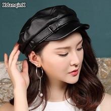 XdanqinX Elegant Women Genuine Leather Hat  2019 Autumn New Womens Sheepskin Army Military Hats Mens Cowhide Flat Caps