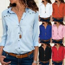 цены S-2XL pure color chiffon shirt long sleeve turn-down collar women shirts autumn spring women tops shirt
