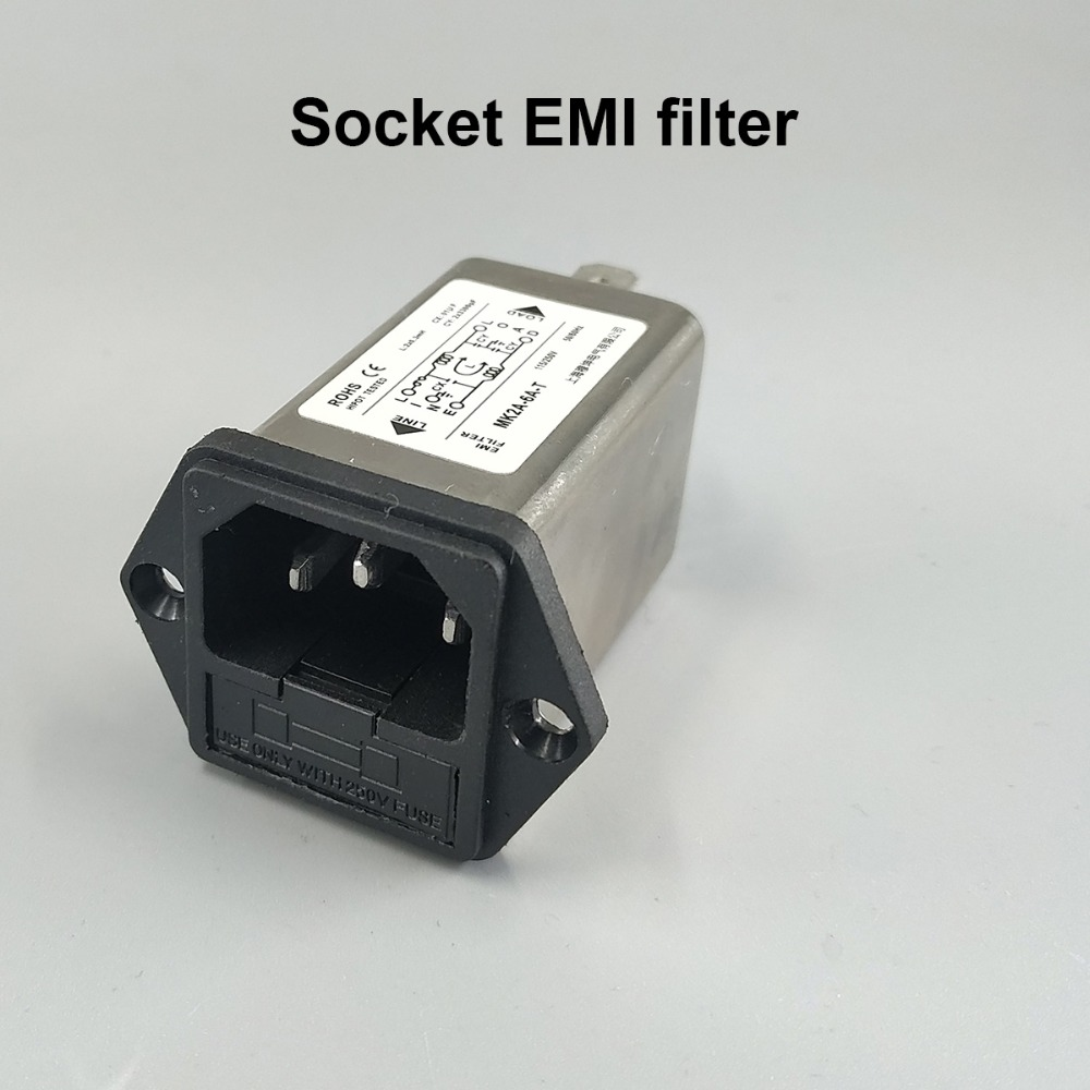 IEC inlet module AC power socket with fuse EMI filter 6A 115V/250V 50HZ/60HZ cw15e 06a t emi power supply filter 110 250v 6a ac electrical equipment adapters power supplies