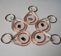 13.56MHZ MF 1K S50 FM11RF08 F08 NFC Transparent Trops of Glue Card RFID Key Tag Key Ring