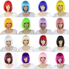 Straight Short Bob Wigs For Women Heat Resistant Synthetic Hair Pink Black Purple Blue White Blonde  Rainbow Wig Cosplay Anime цены онлайн