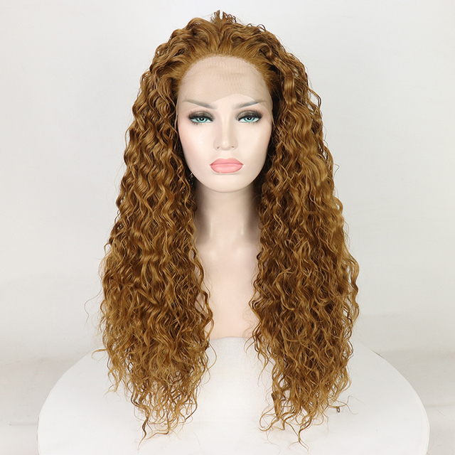 Fantasy Beauty Women s wig Long Curly Wavy Premium Honey Blonde Curly Lace  Front Wig Heat Friendly Synthetic Hair Full Wig 3890818309