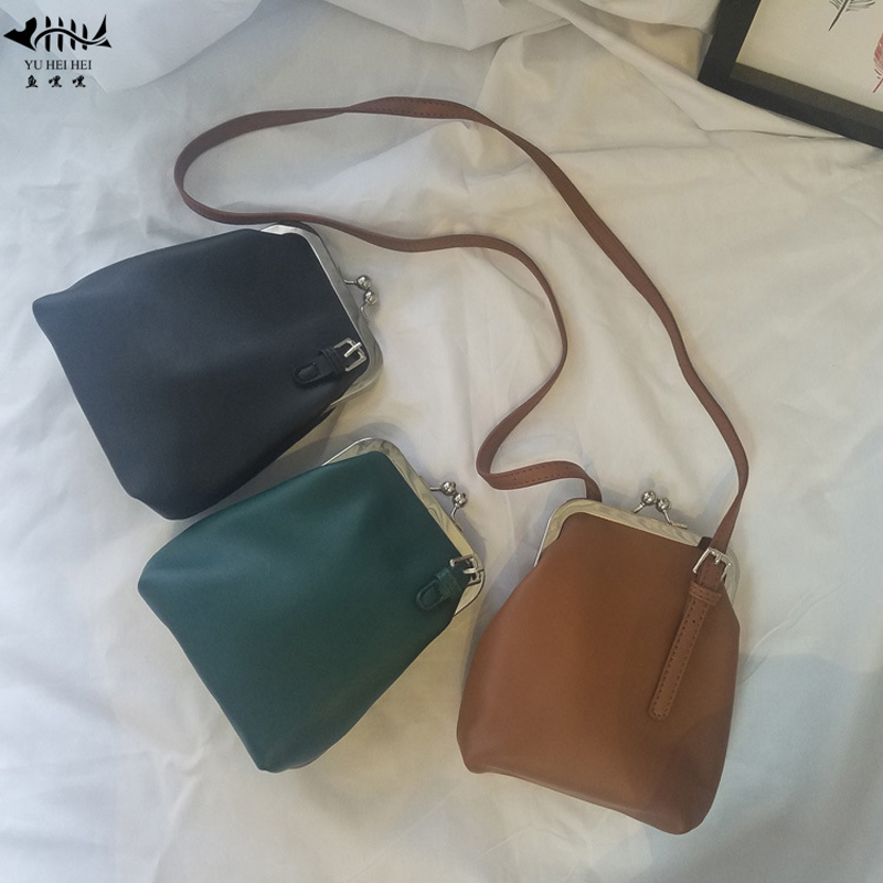 cbd887736966 New High Quality PU Leather Small Kiss Lock Handbag Purse Bag Women Lady  Girl Vintage Fashion Mini Shoulder Cross Body Bags