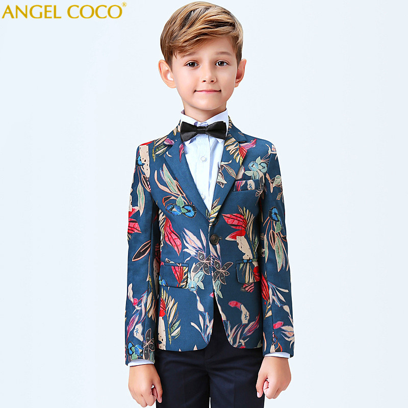 (Jacket+Pant+BowTie+Shirt+Vest) Boy Suits Flower girl Slim Fit Tuxedo Brand Fashion Bridegroon Dress Wedding lattice Suit Blazer