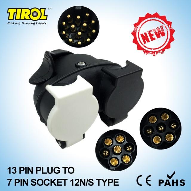 TIROL13 Pin wtyczki do 12N/12 S 7 pin gniazda Caravan holowania konwersji przyczepy złącze do przewodów 12 V EuroT23332b