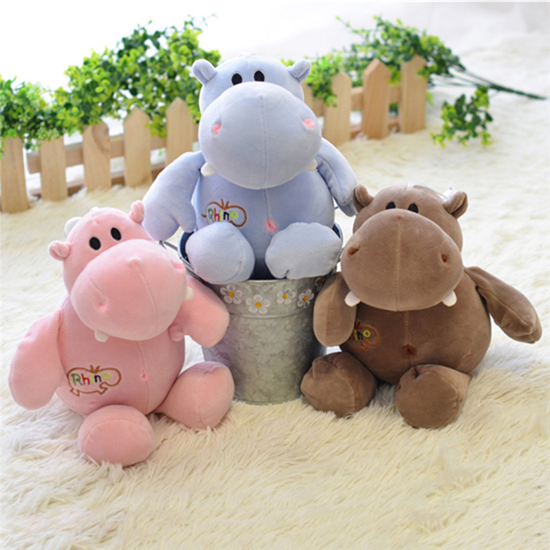 PP Cotton Baby Stuffed Hippo Doll Toys Baby Kids Plush Animal Toys Soft Stretch Dolls Toys For Friend Birthday Christmas Gift 25cm plush kangaroo toys with soft pp cotton creative stuffed animal dolls cute kangaroos with small baby toys gift for children