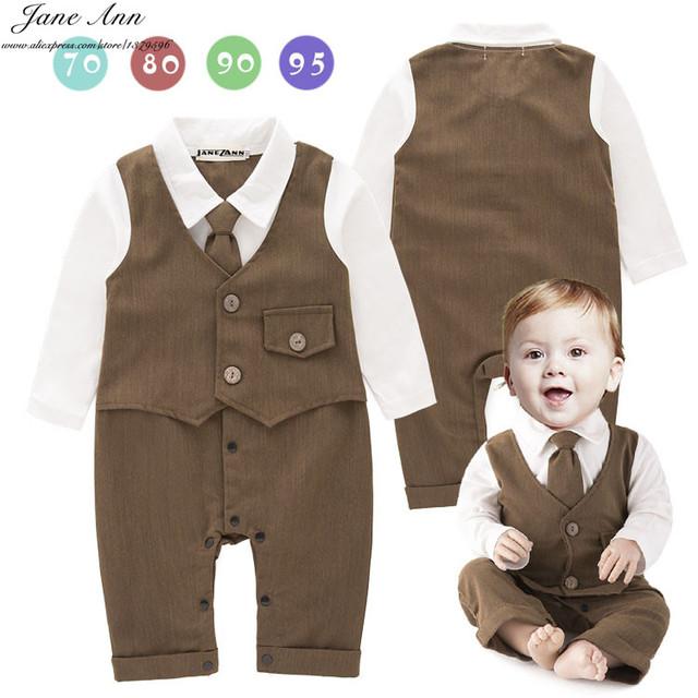 Macacão de bebê menino manga longa marrom longo tie falso colete macacão infantil senhores da criança primavera outono de algodão roupas de casamento