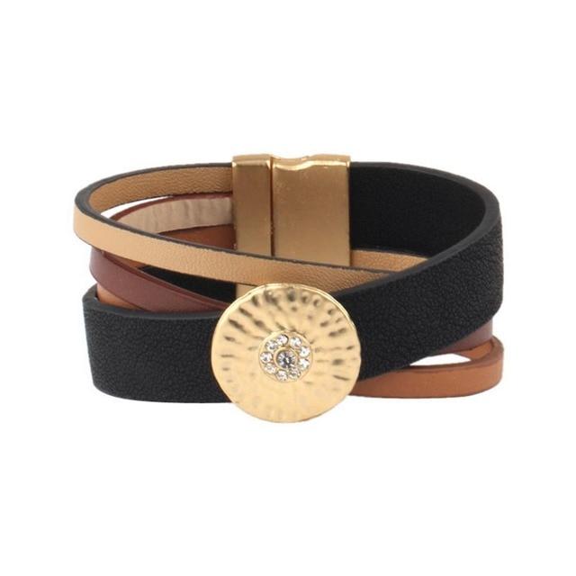Black Brown Genuine Leather...