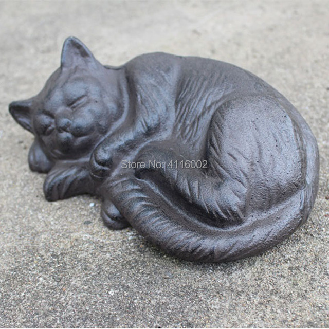 Wrought Iron Sleeping Cat Rural Cast Animal Figurine Cottage Cabin Lodge Yard Garden Outdoor