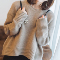 Hot Sale Winter Women Jumpers 7Colors Oneck Loose Style Female Pullover 100% Cashmere and Wool Knit Woman Sweater Woolen Clothes