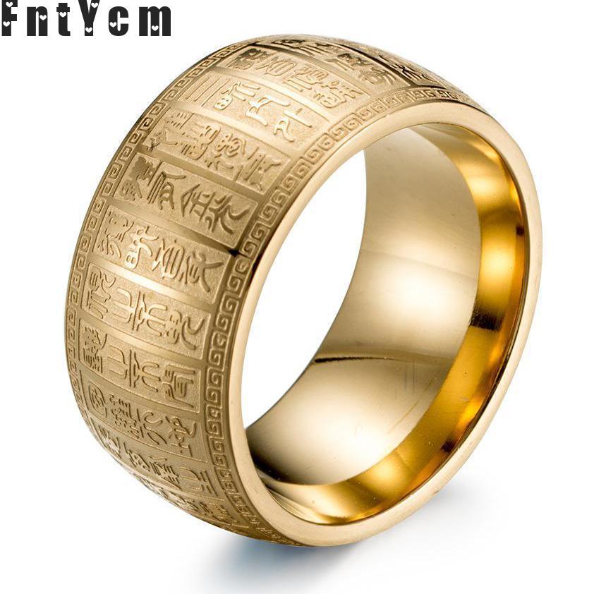 Buddhism Scriptures Supernatural Amulet Letter Men Wedding Rings