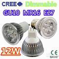 Retail High power CREE 9W 12W 15W Dimmable GU10/MR16/E27/E14/GU5.3 Led Light Lamp Spotlight led bulb