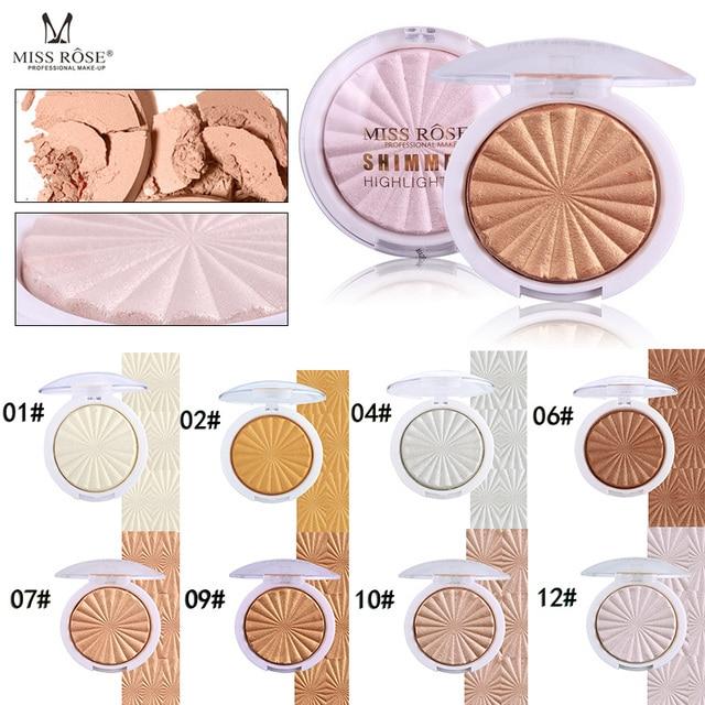 La srta. ROSE resaltador bronceador cara maquillaje en polvo de oro iluminador, maquiagem profesional completa paleta de marcador de relieve