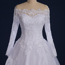 Through Back Zipper Button Beaded Appliqued Long Sleeve Lace Wedding Dress Boat Neck