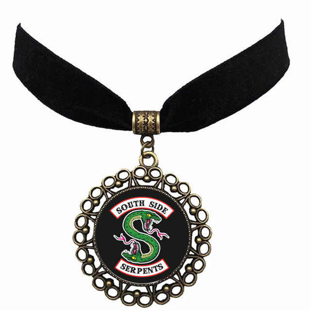 Riverdale Valley Town Flannel Collar Southside serpents Pop's chock'lit shoppe Glass Cabochon Pendant Lace Chocker Necklace