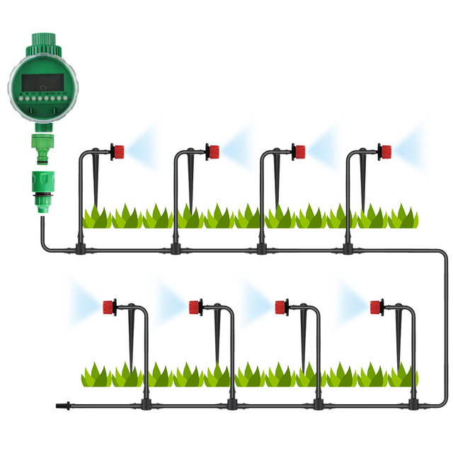 BORUiT DIY Micro Drip Irrigation Automatic Watering Timer Kit System With Adjustable Dripper Smart Controller For Garden Plant