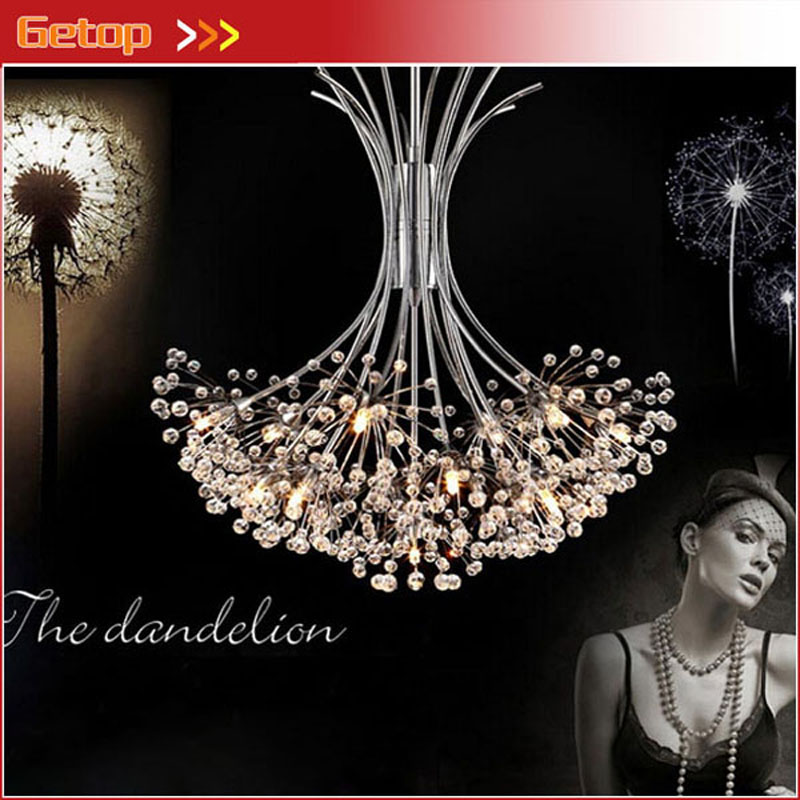 ZX Modern K9 Crystal Chandelier G4 LED Dandelion H80cm Lights Lustre Sitting Room Indoor Decorative Ceiling Lamp Tree Lampshade noosion modern led ceiling lamp for bedroom room black and white color with crystal plafon techo iluminacion lustre de plafond