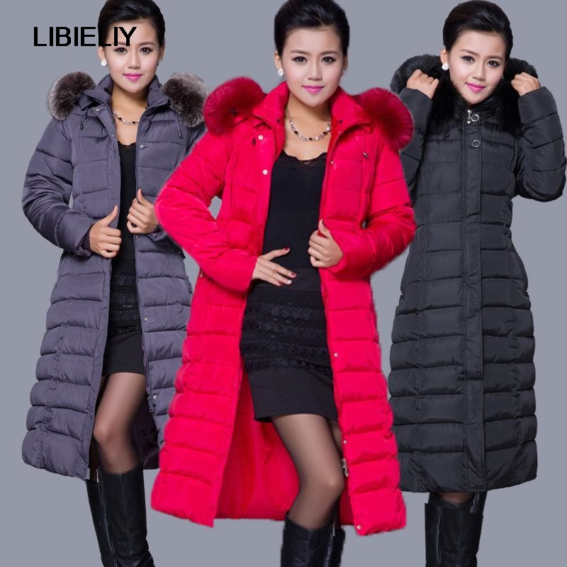 Winter Women Fashion Long Thick Warm Down Cotton Jacket Women Plus Size High Quality Fur Collar Slim Coat  Women Overcoat Parka winter jacket women parka plus size 2017 down cotton padded coat slim fur collar hooded thick warm long overcoat female qw699