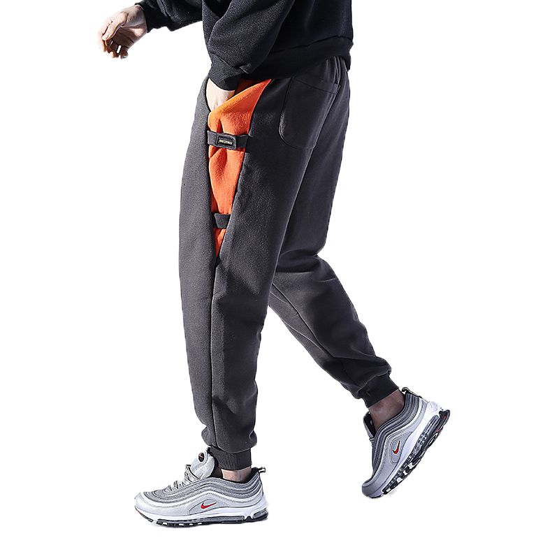 Autumn Winter Men Casual Pants Hip Hop Harem Pants Fitness Jogger Men Side Stripes Streetwear Trousers Fleece Warm Sweatpants