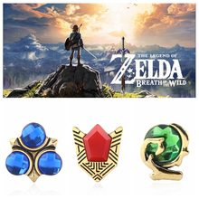 Legend Of Zelda Bros Pin Bros Perunggu Kuno Kristal Broche Fashion Kerah Pin Perhiasan Pria Wanita Brocade Femme Bijoux(China)