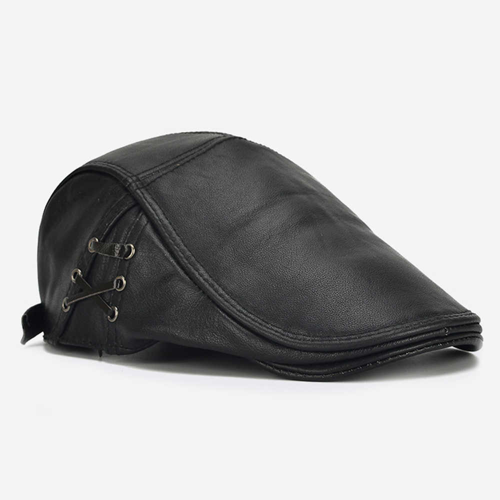 Мужская модная качественная шапка из натуральной воловьей кожи брендовая Повседневная теплая кожаная шапка новый стиль осень зима Натуральная Воловья кожа кожаные кепки