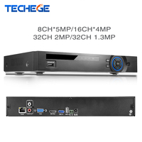 Techege Full HD de 32 Canales de 1080 P NVR del CCTV 8CH * 5 M/16CH * 4 M/32CH 2MP/32CH 1.3 M ONVIF P2P CCTV Grabador de Vídeo de Detección de Movimiento HDMI