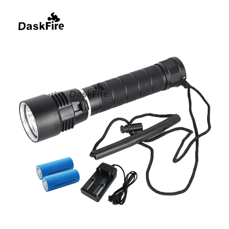 DaskFire 6000 Lumens XM-L 3xL2 LED 26650 Diving Flashlight Torch Underwater 100M with Battery and Charger цены