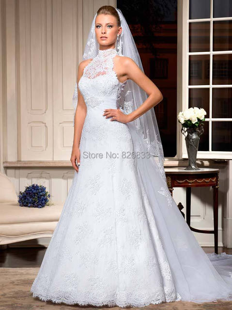 Unique Keyhole Back White Lace High Neck Wedding Dress With ...