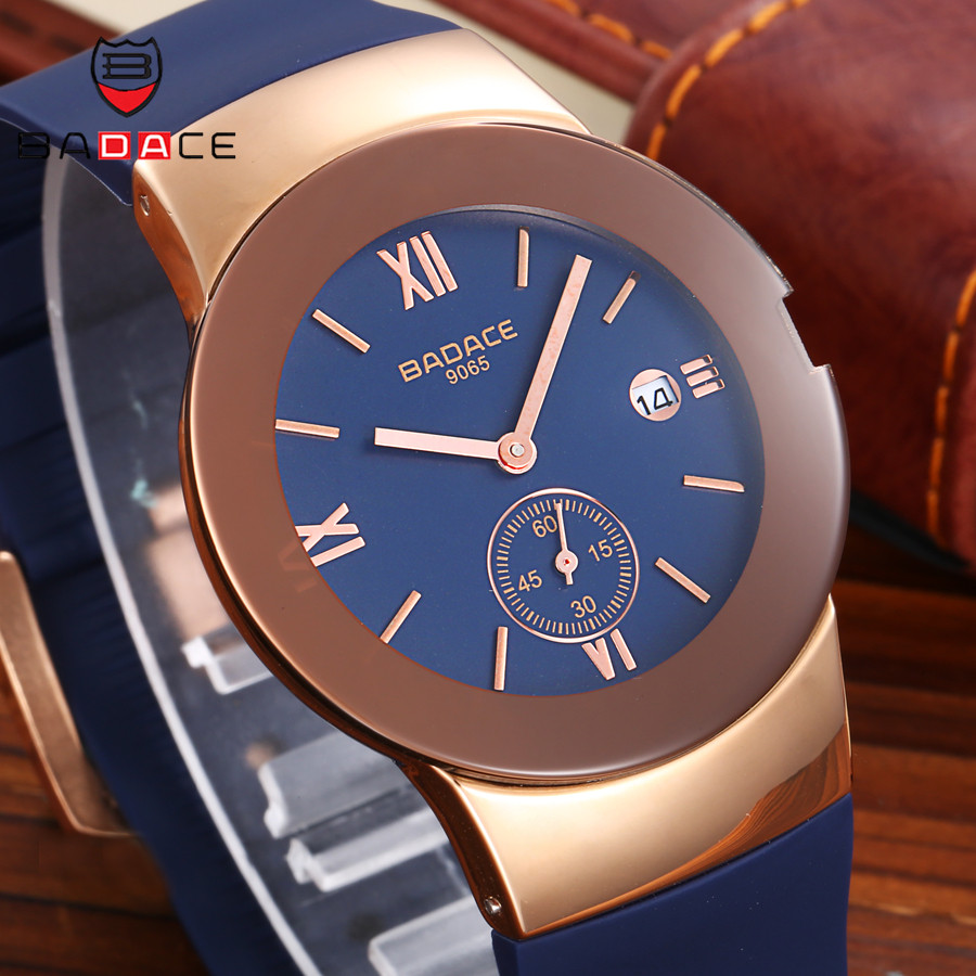 BADACE Mens Watches Hours Top Brand Luxury Casual Sport Men Watch Quartz Waterproof Clock Man PU Strap Wristwatch 9065 top brand sport men wristwatch male geneva watch luxury silicone watchband military watches mens quartz watch hours clock montre