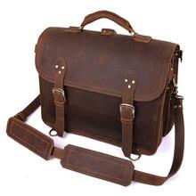 Bolsa de ombro masculina de alta qualidade, pasta de couro maluca, bolsa de mensageiro, de viagem, pasta para laptop