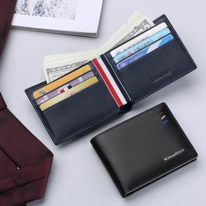 Image 3 - WilliamPOLO กระเป๋าสตางค์ผู้ชายสั้นสีแดง สีขาว แถบสีฟ้าช่องใส่การ์ด Ultrathin หนังแบบพกพากระเป๋าสตางค์ใหม่