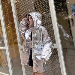 Luźne błyszczące kurtka kobiety na co dzień Neon kurtka wiatrówka z kapturem srebrna kurtka lato cienkie kurtki Plus rozmiar z długim rękawem odzieży wierzchniej 4
