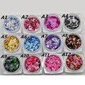 12 Nail Art Glitter RODADA Formas Confetti Lantejoulas Dicas Acrílico UV Gel Um Estilo Venda Por 12 pçs/set