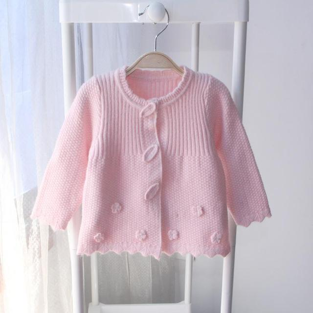 2016 Nueva Primavera Otoño Bebé Suéter de Punto Ropa de Lunares de Color Suéteres de los Bebés de Invierno niños Cardigan Suéteres Niñas