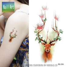 Temporary Tattoos Waterproof Tattoo Stickers Body Art Painting For Party Decoration Cute Sika Deer