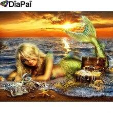 DIAPAI Diamond Painting 5D DIY 100% Full Square/Round Drill Mermaid sunset Diamond Embroidery Cross Stitch 3D Decor A24546 diapai 100