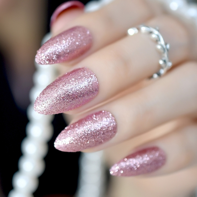 Gorgeous Rose Gold Almond Stiletto Fake Nails Pointed Bling Glitter Press On False Full Cover