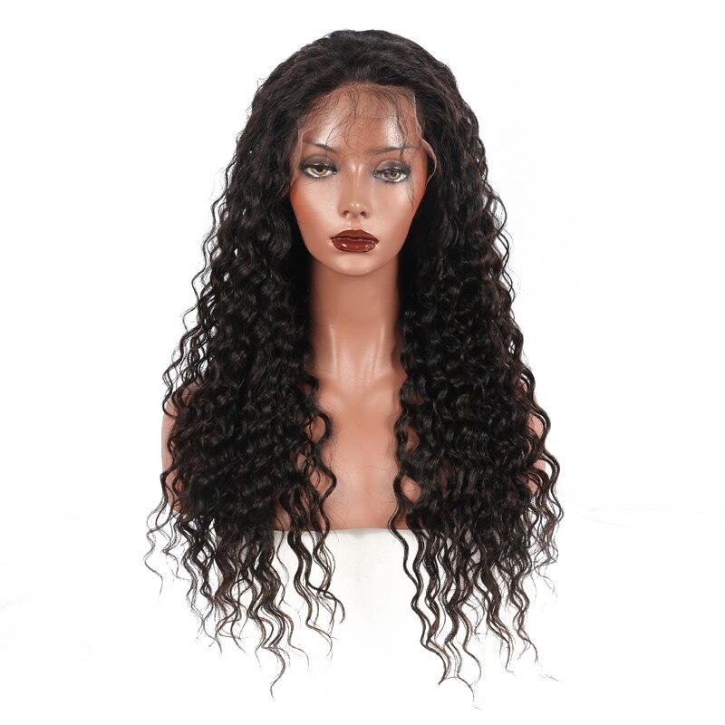 Шелк база Синтетические волосы на кружеве человеческих волос парики для Для женщин глубокая волна бразильские волос 130% Плотность парик шну...