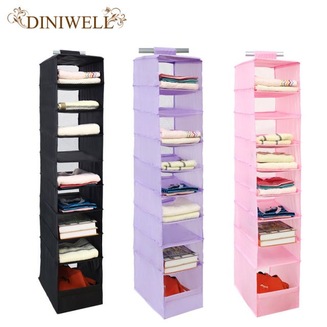 DINIWELL Washable 210D Oxford Magic Stickers Hanging Organizer Box Wardrobe  Clothes Closet Storage Bag For Clothing