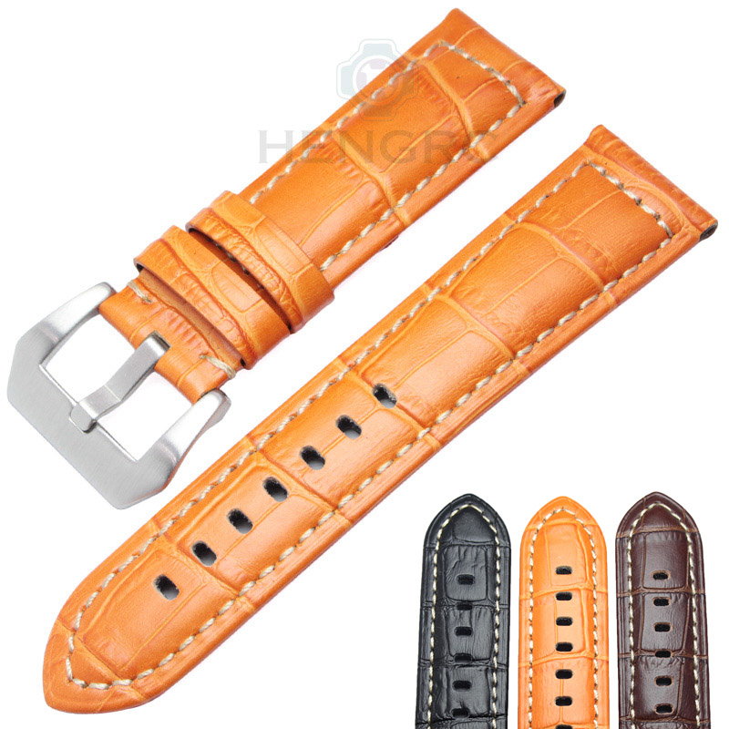 HENGRC Watchbands 22mm 24mm Men Brown Black Orange Thick Genuine Leather Watch Band Strap For Panerai Watch Accessories  handmade leather watchbands version classic men black 24mm 26mm watchbands for panerai strap fast delivery