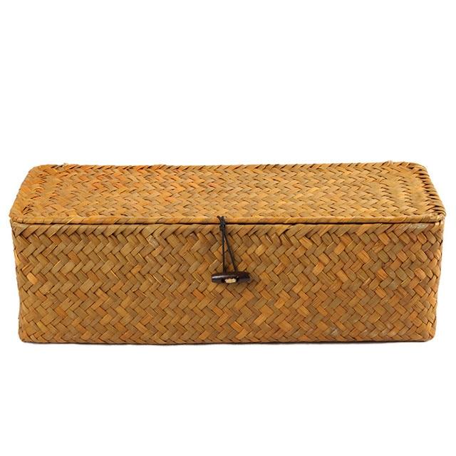 Natural Rattan Cosmetics Storage Boxes 3 Lattice Remote Control Storage Box Case For Clothes Toy Organizer Wicker Baskets