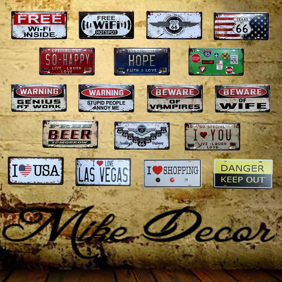 [Mike86] 2017 Nueva WiFI Route66 Letrero de metal Antiguo Craft Bar Hogar Placa de pared de hojalata Decoración 30 * 15 CM FG-113
