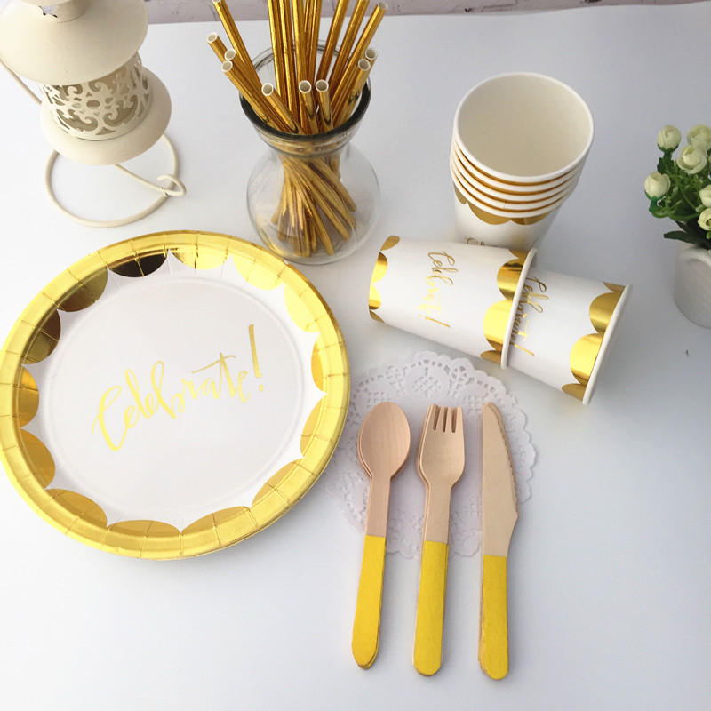 40 Sets Foil Gold Celebrate Tableware Metallic Gold Paper Plates Cups Napkins for Great Gatsby 30th 40th 50th Birthday Decor