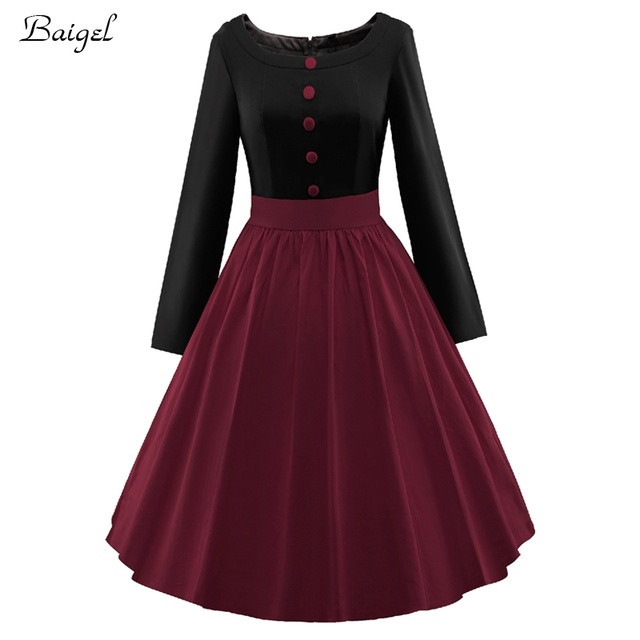 a8cb05fb991 Womens Patchwork Long Sleeve Autumn Winter Vintage Dress 2017 Retro Style  Rockabilly Black Red Burgundy Bridesmaid Party Dresses