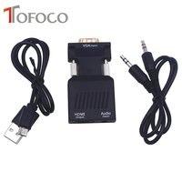 TOFOCO VGA HDMI dönüştürücü 1080 P VGA Video ile hdmi Adaptörü 1080 P HDTV PC Laptop Için projektör