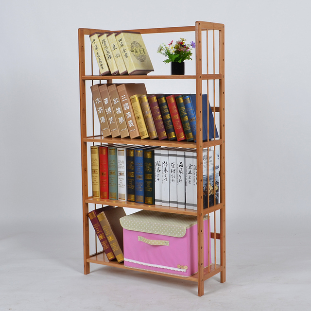 Cheap Bamboo Wood Bookcase Shelf Filing Cabinet Modern Minimalist Frame Simple Landing Student Bookshelf Books