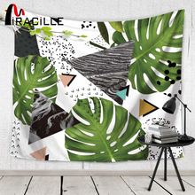 Miracille Wall Tapestry Troical Leaf and Triangle Hanging Tapestries Bedspread Geometry Beach Towel Blanket Table Cloth