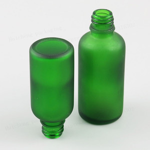 Image 3 - 10ML 15ml 20ml 30ml 50ml 100ml Refillable Frost Green Glass Essential Oil Bottle With Brush Cap 1oz 1/2oz 5/3OZ NaiPolish Bottle